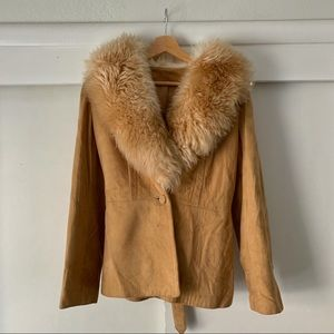 Vintage Carmel Suede Shearling Coat